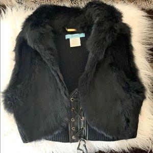Marciano cropped  fur vest/shrug